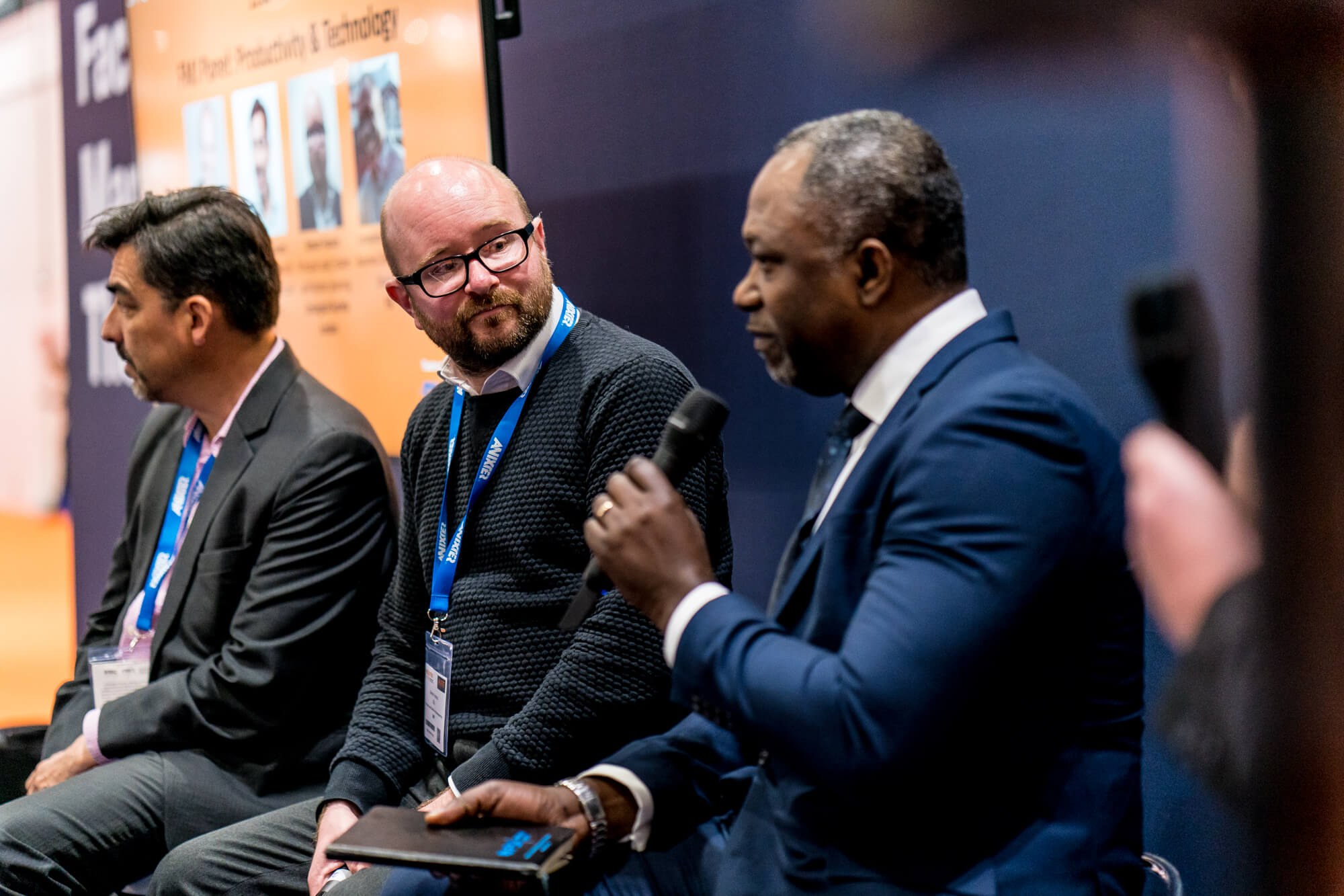Two speakers at a seminar at Facilities Show 2019